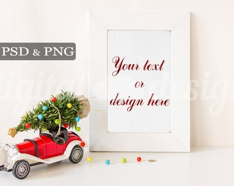 Christmas Tree on Red Vintage Car Styled Stock Photography Vertical Frame Mockup Download Product Digital Background