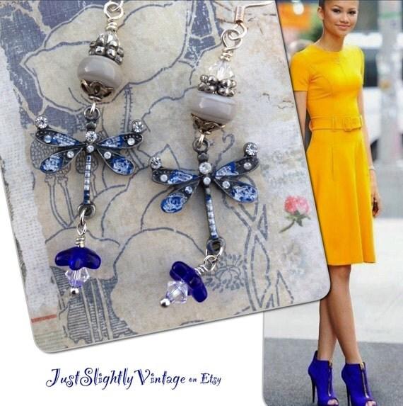 Dragonfly Flirt...RESERVED Artisan, Petite Lampwork, Nature, Patina Wash, Bohochic, Feminine, Romantic Garden, OOAK, JustSlightlyVintage
