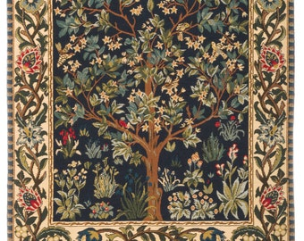 jacquard woven belgian gobelin wall tapestry The Tree of Life by William Morris wall hanging wall decor