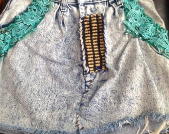 Hippie upcycled Jean skirt