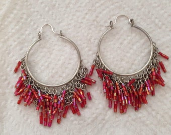 SILVER HOOP BEADEd EARRINGs