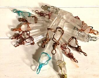 Wire Wrapped Crystal -Raw Quartz Crystal Pendant - Crystal Pendant -  Wire Wrapped Quartz Crystal  -  Healing Necklace - Raw Quartz Necklace