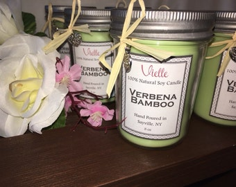 All Natural Handmade Soy Candle 8 oz Jelly Jar - Bamboo Scent