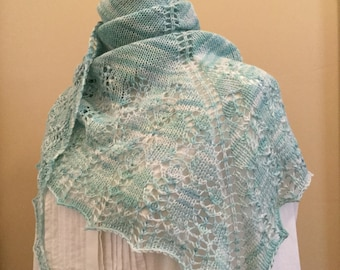 Hand knit shawl, shawlette, scarf, light blue, merino wool