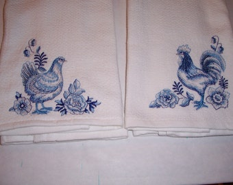 Blue Rooster and Hen Kitchen Towels