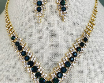 Elegant Emerald Green and Clear Rhinestone Statement Necklace and Dangle Earring Set...Wedding / Evening / Prom