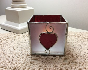 Stained Glass Red Heart Tea lite Glass Heart Votive Holder