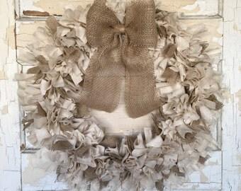 Knot Wreath | Linen Wreath | Year Round Wreath | Rustic Wreath | Rustic Wedding Decor | Primitive Wreath | Farmhouse Wreath | Indoor Wreath