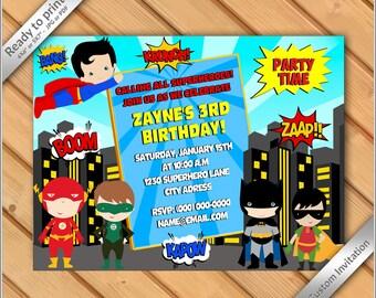 50% OFF SALE - Super Hero Invitation - Kids Super Hero Birthday Invitation printable