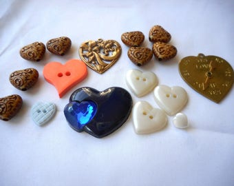 Heart shaped Beads and Buttons, Red White Gold Blue, 2 Gold Heart shaped Pendants, Fun Beads, Fun Buttons