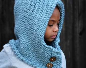 Blue child sized hooded cowl