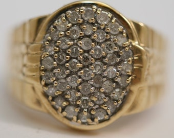 Vintage 10K Yellow Textured Gold Men's Diamond Cluster Ring Size 10