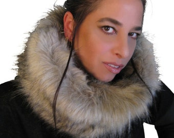 "Hooded cowl ""Fox"", faux fur snood, winter cowl scarf, circular neck warmer, funnel cowl, tube."