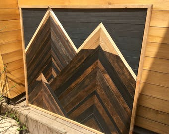 Wooden Wall Art Panel Mountain Scape