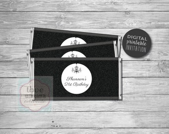 DIGITAL FILE PRINTABLE Black Glitter Chandelier Chocolate Printable Wrapper diy Lolly Candy Buffet