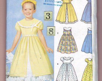 Wide Collar Flower Girl Dress Sewing Pattern/ Simplicity 7120 Easy petticoat Formal, full skirt Party Dress, UnCut/ Size 3 4 5 6 7 8 year