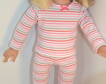 Pink Stripe Pajamas for Your 18 inch Doll