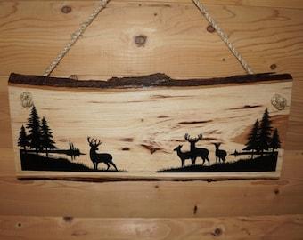 Deer Sign, Rustic Deer Sign, Deer Decor, Personalized Sign, Live Edge Sign, Rustic Wood Sign, Wood Sign, Rustic Sign,  Engraved Sign