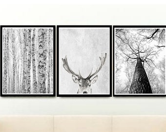 Modern Scandinavian Print, Triptych, Printable Wall Art, Instant Download, Black And White Art, Modern Art, Home Decor, wall Decor