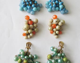 3 Pair Vintage Beaded Cluster Dangle Clip on Earrings Lot Bead Dangly Earrings