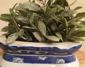 Blue and White Succulent Planter