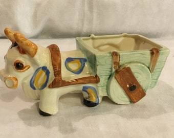 Vintage Ceramic Donkey and Wagon Cart Floral Planter Decoration Made in Japan