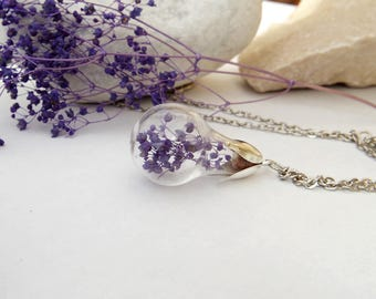 Mothers day jewelry Real flower necklace Floral pendants Pressed flower necklace Terrarium necklace Botanical Nature  Gift for a woman