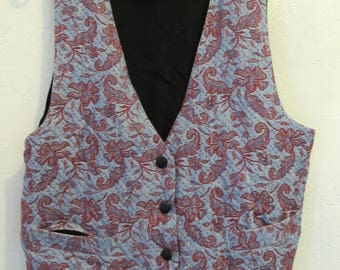 A Women's Vintage 90's,GROOVY Tapestry Front,Button Close Vest By SOPHISICATES.L