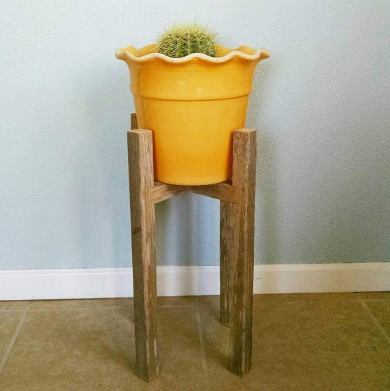 Rustic Plant Stand Large 21 Tall Reclaimed Wood Indoor