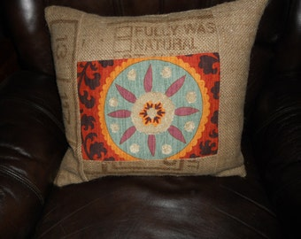"Large Feather-Filled Throw Pillow 19""x19"" Re-purposed Genuine Coffee Sack Burlap"