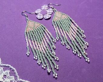 Seed Bead Fringe Earrings, Tribal Style Earrings, Pink and Grey Feather Earrings, Boho Style Earrings, Hippy Earrings