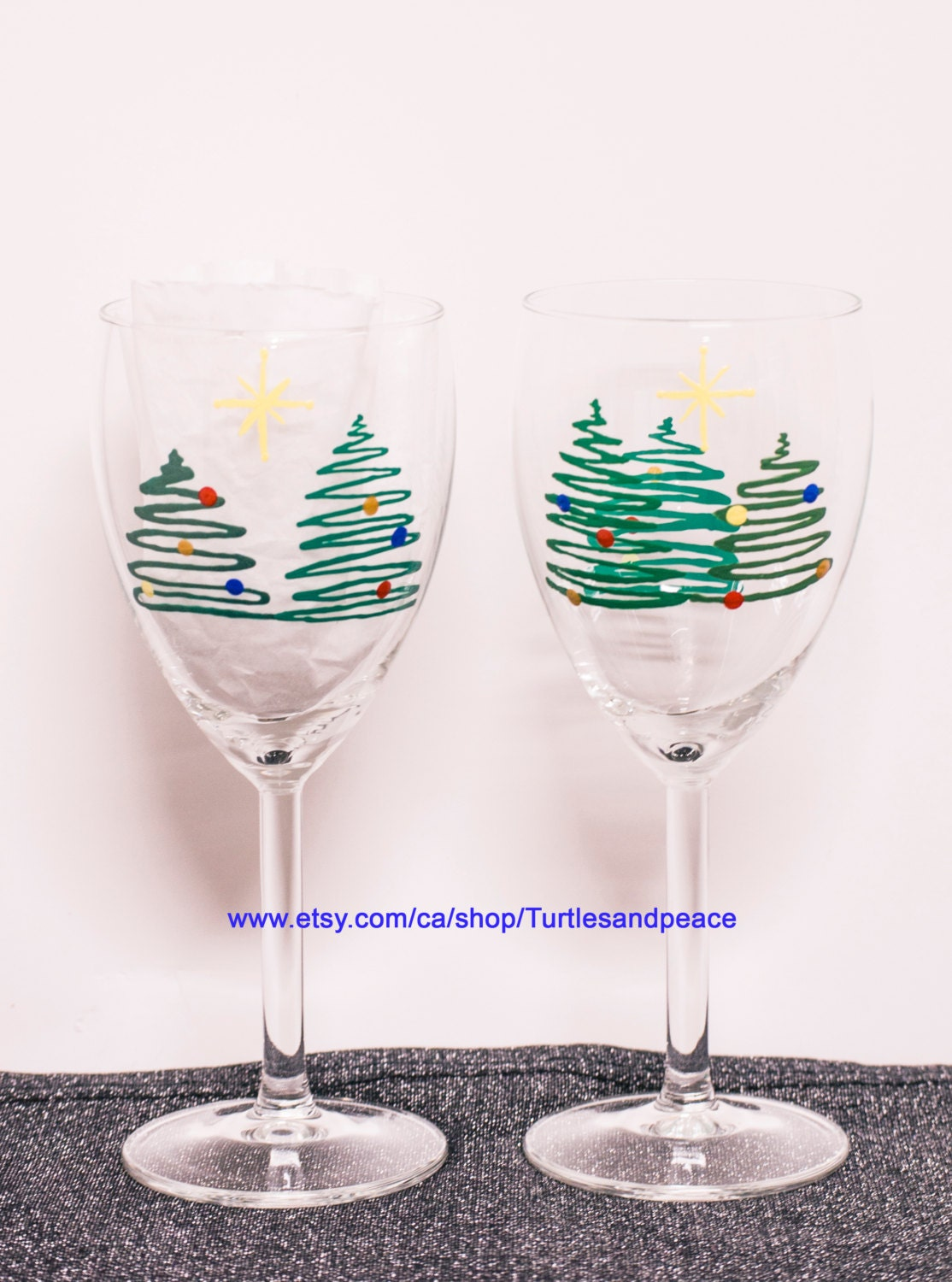 Christmas Wine Glasses Handmade Unique Wine Glasses One Of A
