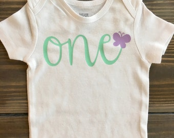 First Birthday Onesie with Butterfly