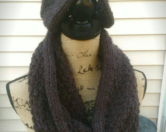 Knit Moss Stitch Cowl One Loop Scarf and Ear Warmer Headband Set in Pecan