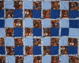 "Blue Gingham Royal Blue Teddy Bear Boys Rag Quilt 30""x42"" Gingham Teddy Bear Chevron Flannel Homemade Crib Rag Quilt Blue"