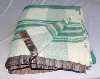 Vintage DOUBLE LENGTH Green Plaid BLANKET