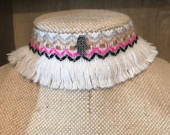Pink  white and hamsa hand tassle  statement choker  necklace boho gypsy beach