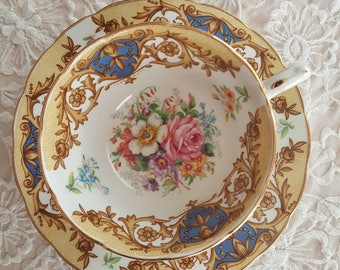RARE Vintage Grosvenor Balmoral cup and saucer,  blue and gold flowers and vines, Made in England