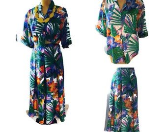 Vintage 1980's Tropical 2 piece suit