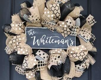 Custom burlap wreath - farmhouse decor - custom farmhouse - housewarming gift - wedding gift - custom gift - everyday wreath - burlap wreath