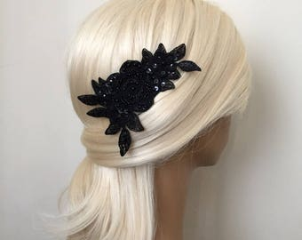Bridal Hair Accessories, Wedding Head Piece, Black Beaded Lace, Comb, Snap Clip