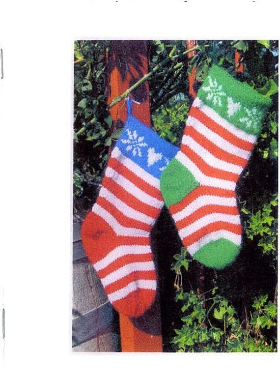 Christmas Stocking Knitting Pattern Straight Needles : Vintage knit traditional christmas stockings instant