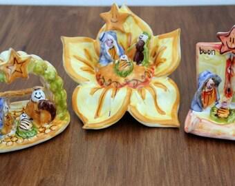Crib. Ceramic nativity scenes. Ceramic Nativity. Holy Family. Christmas gifts. Christmas decorations. Artistic hand-painted Italian majolica
