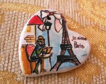 Paris Eiffel Tower unique pendant necklace jewerly Heart ceramic pottery handmade handpainted Custom personalized Italy Majolica heart Paris