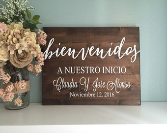 Rustic Wood Wedding Sign / Spanish Wedding Welcome Sign / Rustic Wedding Decor / Country Wedding