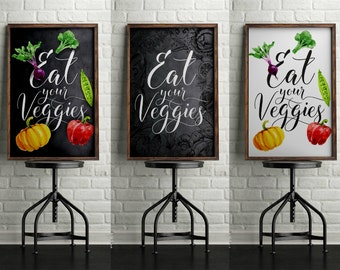 Eat Your Veggies Poster Set, Veggies Poster, Kitchen Poster, Kids Room Poster, Printable Poster, Digital Print, Home Decor, Wall Art