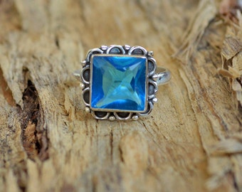 Natural Blue Topaz Gemstone 925 Sterling Silver Ring Size 7.5, Artisan Ring Jewelry,  September Birthstone Blue Topaz Gemstone Ring 7.5