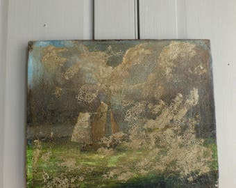 Antique oil seascape painting of Pilot Cutter in Swansea Bay sailboats damaged shabby chic
