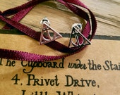 Harry Potter Silver Deathly Hallows Stud Earrings