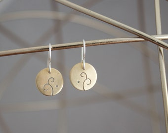 Brass Whimsical Earrings, Circle Earrings with Cutout Design